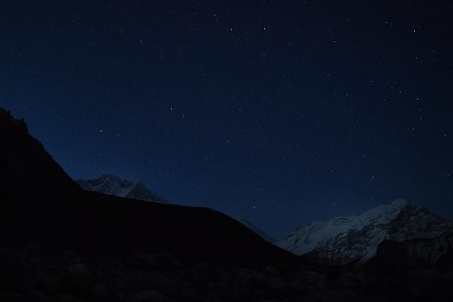Lhotse at night, Amphu Labsta High Camp