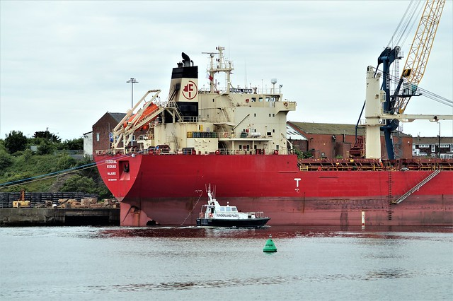 2 DSC08379 (2). Bulk Carrier FEDERAL RIDEAU prepares to leave The Corporation Quay, River Wear, Port of Sunderland. Pilot boat HERON attending.