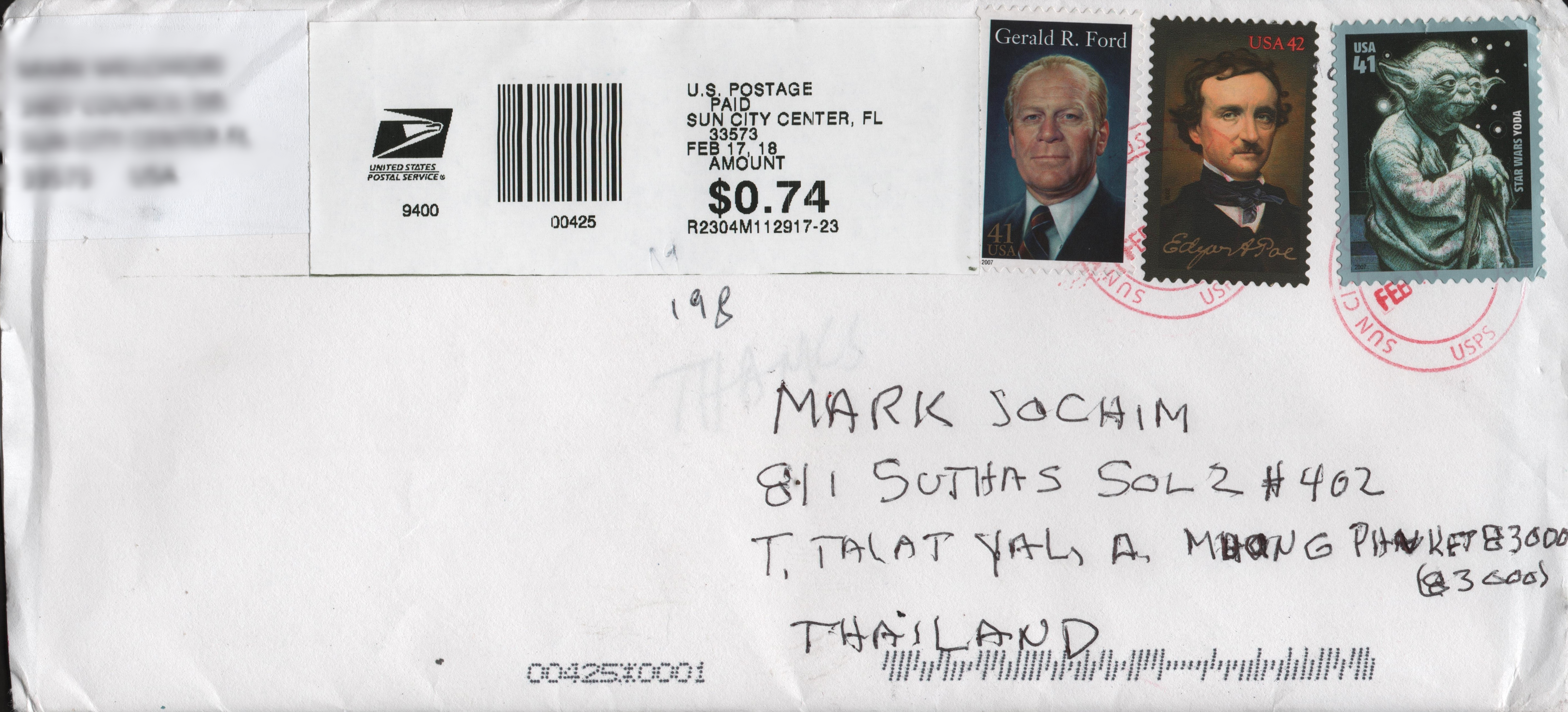 United States Scott #4143n on cover from Florida, United States, February 2018