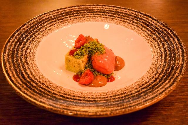 Pistachio Cake and Raspberry Sorbet at The Parade Room at The Pound, Canterbury #cake #pistachio #raspberry #sorbet #dessert #canterbury