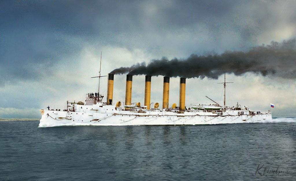 """Бронепалубный крейсер 1-го ранга """"Аскольд"""" на испытаниях, Киль, 1901 (colorize Klimbim)"""
