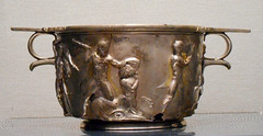 """Silver skyphos with Hercules' exploits"" (half 1st century AD) from Pompeii, House of Menander - Exhibition ""Hero"" up July 31, 2018 at Archaeological Museum of Naples"