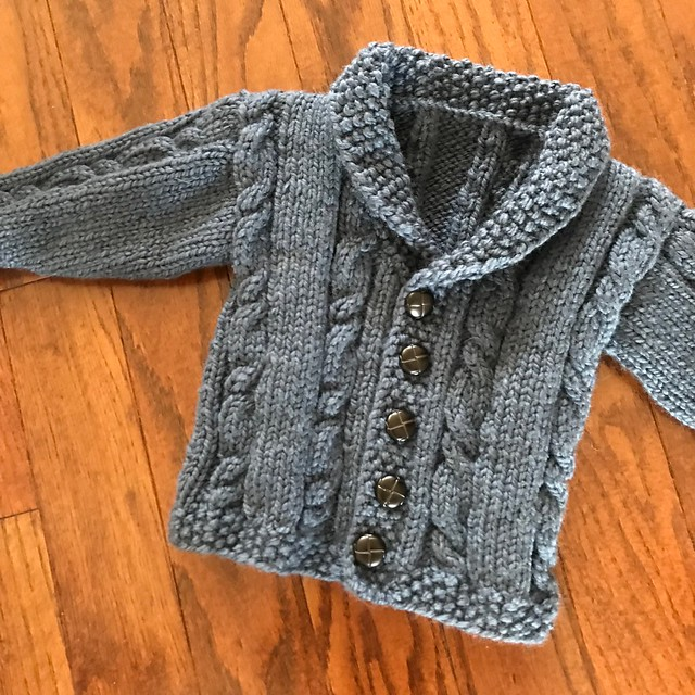 Finished modified Lion Brand Yarns sweet Heirloom Cables Baby Sweater