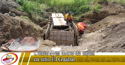 Construyen ducto de cajón en sitio El Guabal