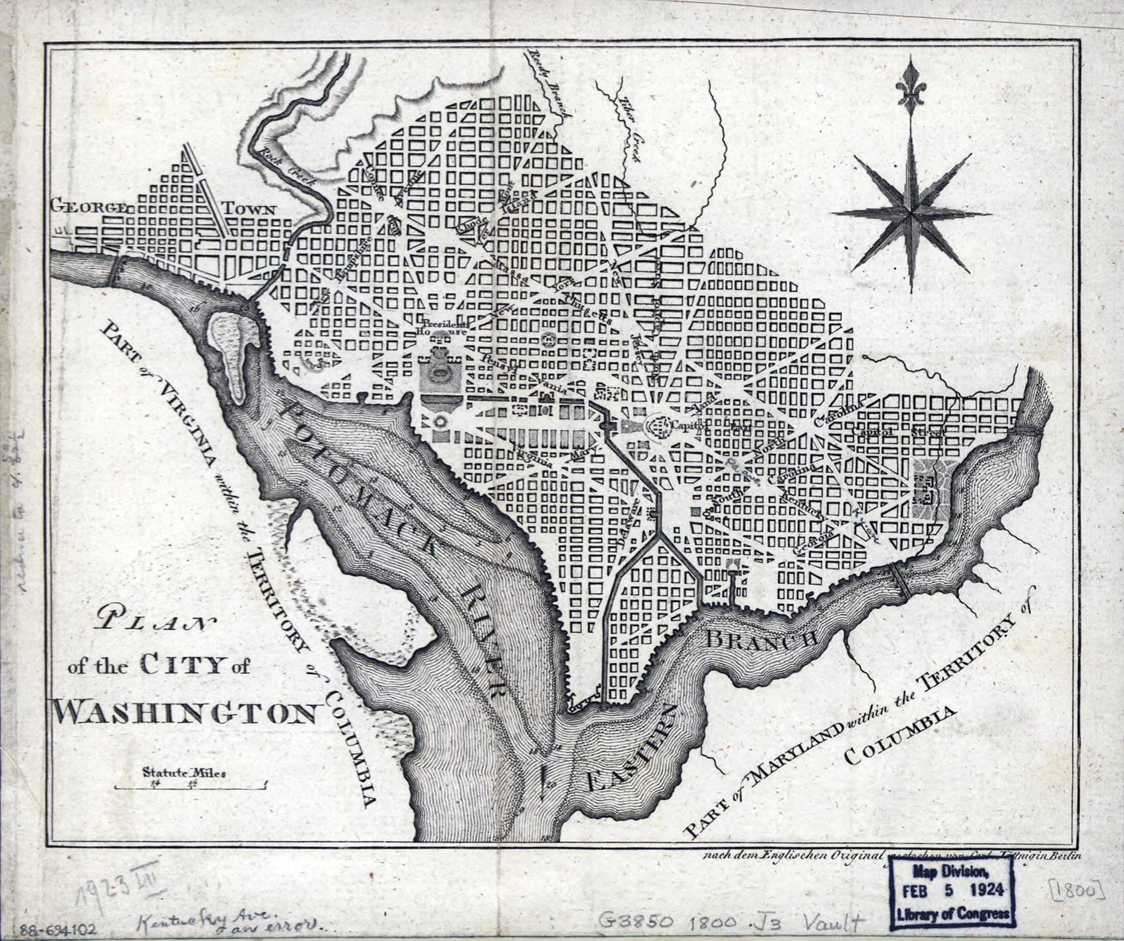 Plan of the City of Washington, 1800 revision