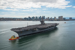 SAN DIEGO (June 18, 2018) The aircraft carrier USS Carl Vinson (CVN 70) departs San Diego in preparation for participation in exercise Rim of the Pacific (RIMPAC) 2018. Twenty-six nations, 47 ships, five submarines, approximately 200 aircraft and 25,000 personnel are participating in RIMPAC in and around the Hawaiian Islands and Southern California. RIMPAC is the world's largest international maritime exercise, providing a unique training opportunity while fostering and sustaining cooperative relationships between participants critical to ensuring the safety of sea lanes and security in the world's oceans. (U.S. Navy photo by Mass Communication Specialist 2nd Class Z.A. Landers/Released)