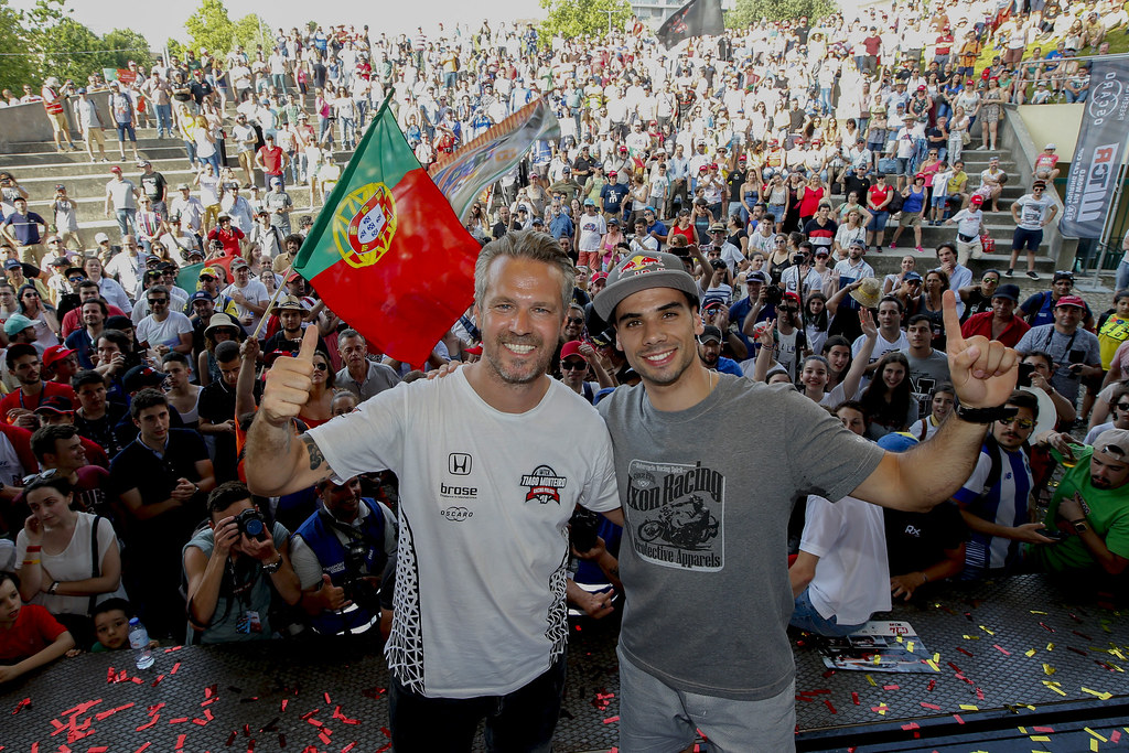 MONTEIRO Tiago (por), Boutsen Ginion Racing, portrait, OLIVEIRA Miguel Moto 2 podium ambiance during the 2018 FIA WTCR World Touring Car cup of Portugal, Vila Real from june 22 to 24 - Photo Paulo Maria / DPPI