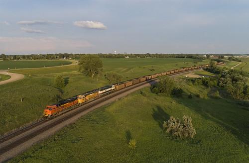 drone aerialphotography railroad bnsf bnsfrailway bnsf8574 dji djiphantompro4v20 djiphantomseries dronephotography emd emdsd70ace sd70ace coaltrain lakeparkmn staplessubdivision bnsfstaplessub