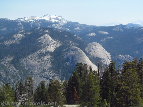 North Dome (center) and Basket Dome (just to the right) from Sentinel Dome, Yosemite National Park, California