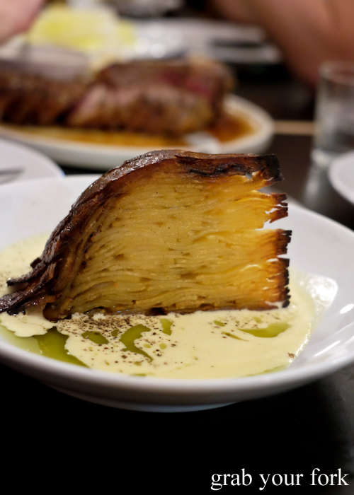 Potato galette with smoked whey sauce at Ester in Chippendale, Sydney