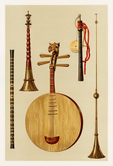 Saimisen, Kokiu and Biwa (1888) by William Gibb (1839-1929), a chromolithograph of a traditional musical instruments. Digitally enhanced from our own original plate.