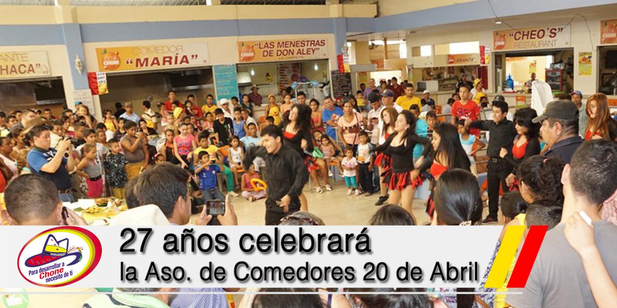 27 años celebrará la Aso. de Comedores 20 de Abril