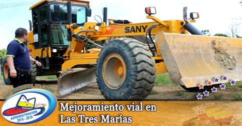 Mejoramiento vial en Las Tres Marías