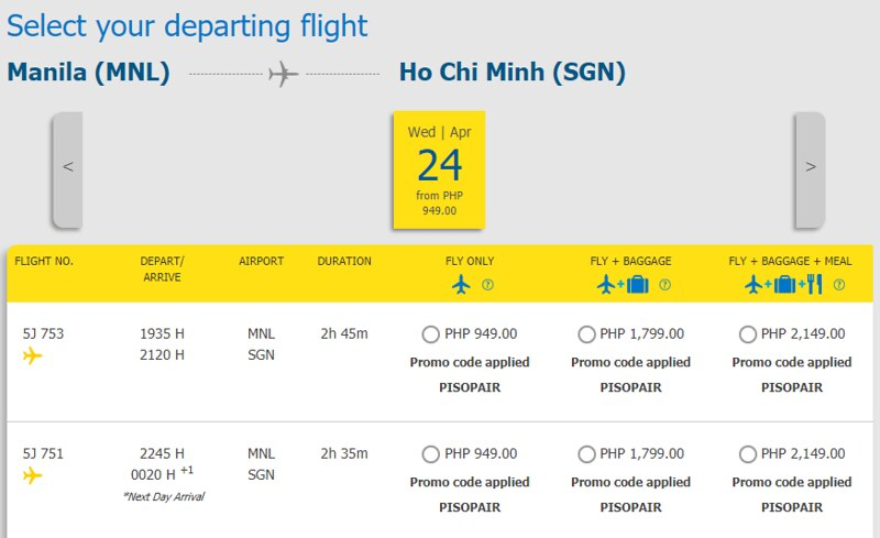 Cebu Pacific Piso Pair Manila to Ho Chi Minh