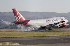 G-VROY Boeing 747-400 Virgin Atlantic Glasgow airport EGPF 01.07-18