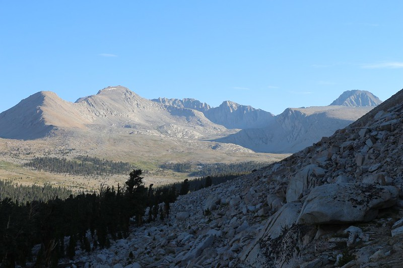 Looking north toward Forester Pass, Caltech Peak, left, and Junction Peak on the far right, from the JMT