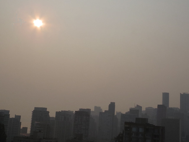 Smoke over Vancouver because of the 600 fires raging in our province.