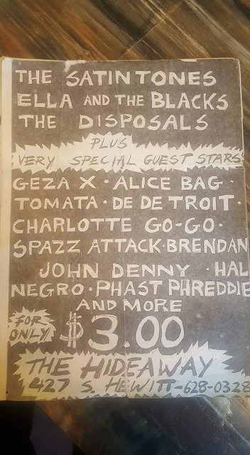 Hal Negro & The Satin Tones, Ella and The Blacks, The Disposals plus guests @ The Hidaway, L.A. 1980