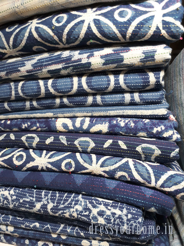 Where to buy kantha stitch block print fabric in Mumbai