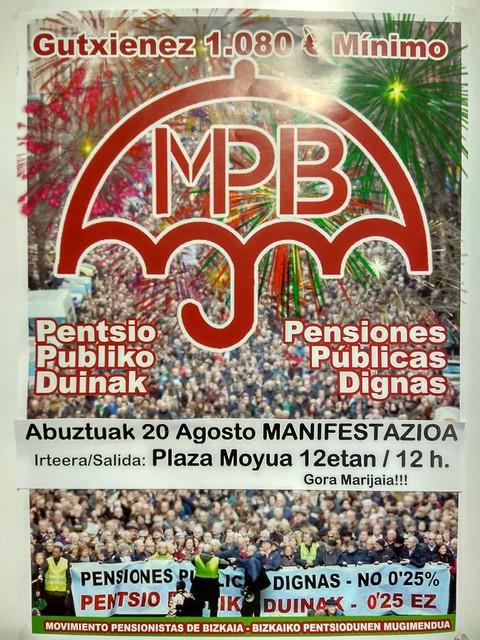 Pensiones Públicas Dignas, manifestación en Bilbao