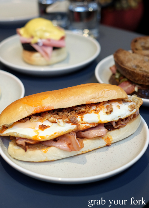 Grilled mortadella and fried egg sandwich at A1 Canteen by Clayton Wells in Chippendale Sydney