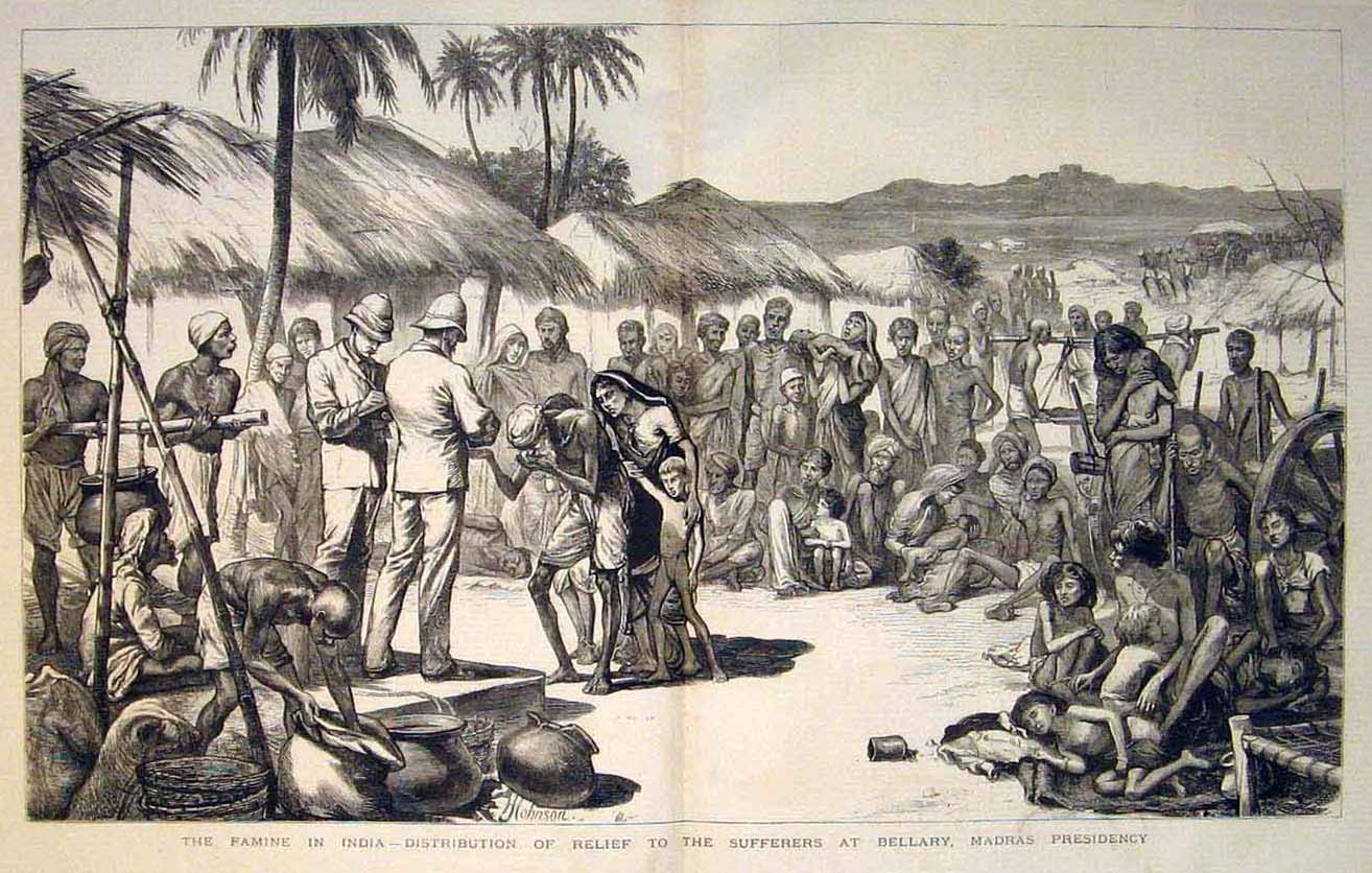 A contemporary print showing the distribution of relief in Bellary, Madras Presidency. From The Illustrated London News, May 26,1877.