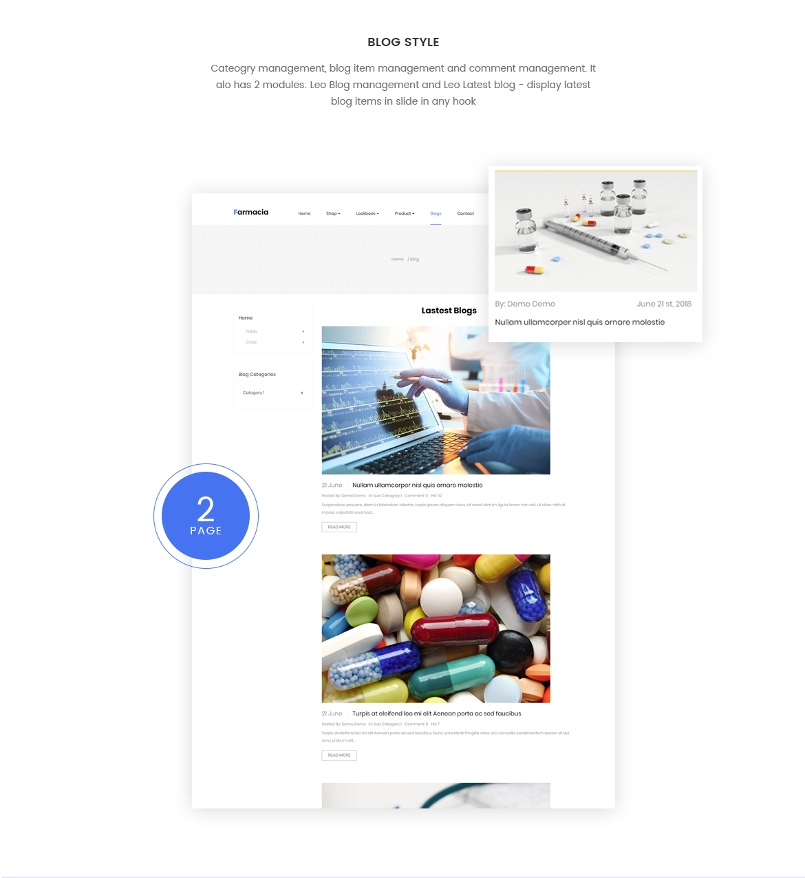 blog Prestashop module - medical store