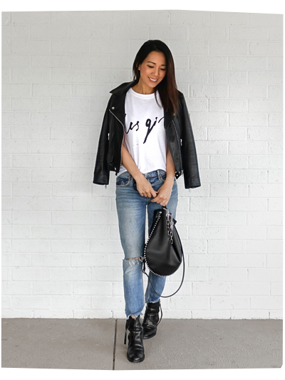 Weekend Look : Denim and Leather