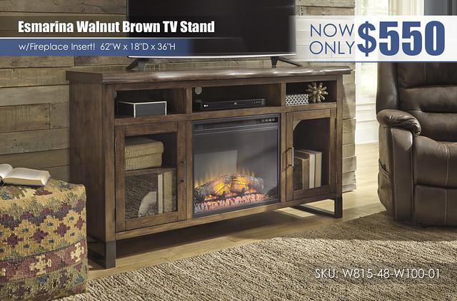 Esmarina Walnut Brown TV Stand wFireplace_W815-48-W100-01