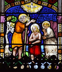 east window: Baptism of Christ (Ward & Nixon, 1850s)