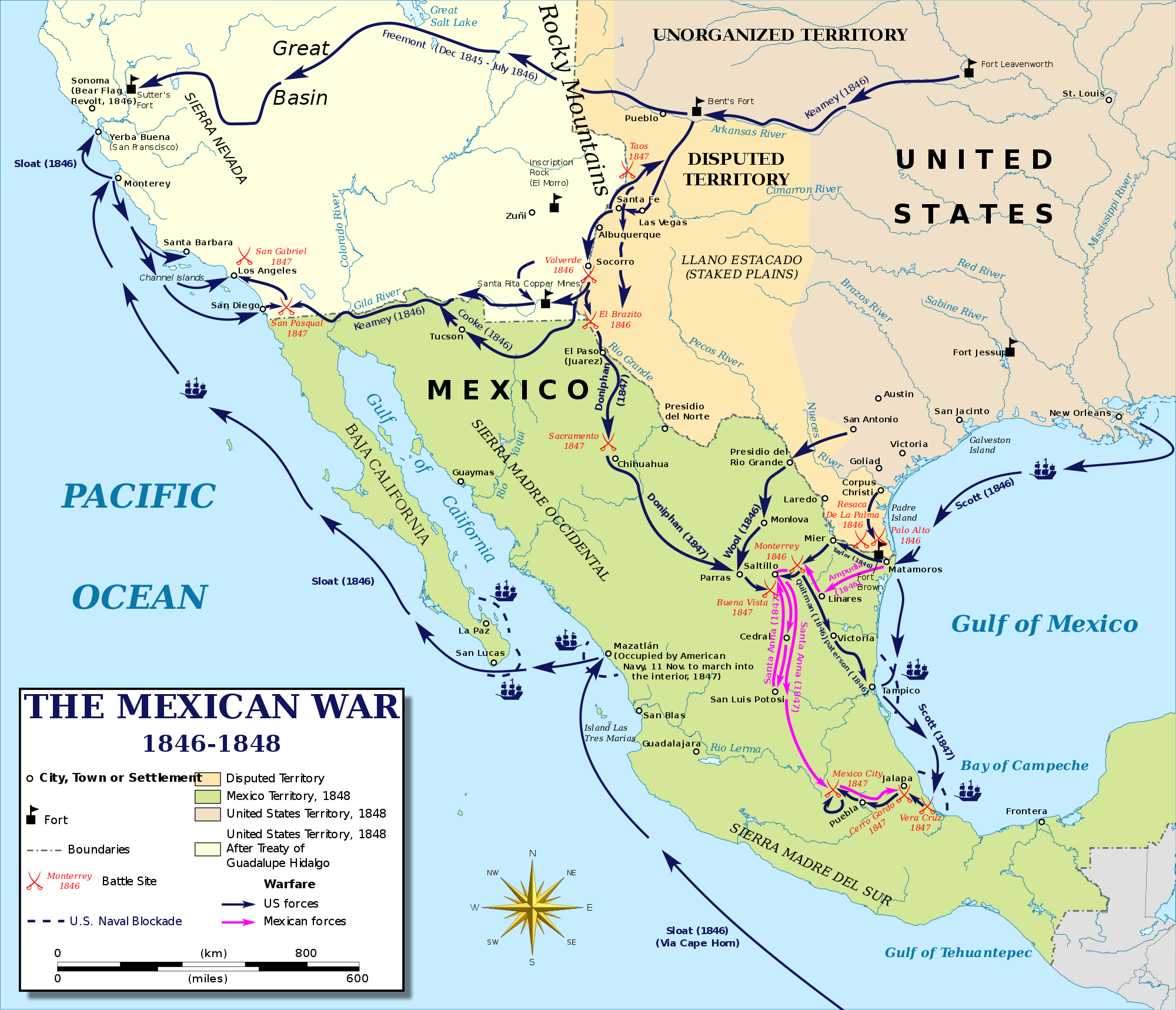 Map of the Mexican-American War, 1946-1848