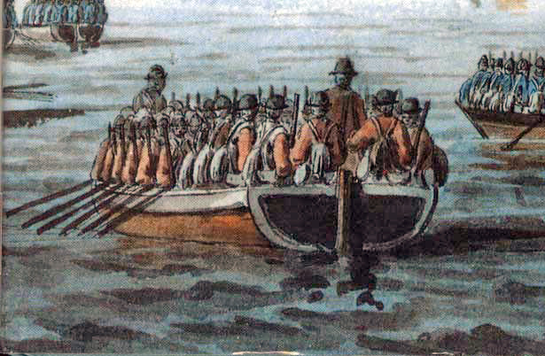 British troops in the type of flat-bottomed boat used for the invasion of Long Island. Hessians in their blue uniforms are in the two boats that are only partly visible. Detail from 'The Occupation of Newport, Rhode Island, December 1776' - black and watercolor pen and ink, signed and dated. The artist was an eyewitness to the event, serving as Captain's clerk on HMS Asia. The description