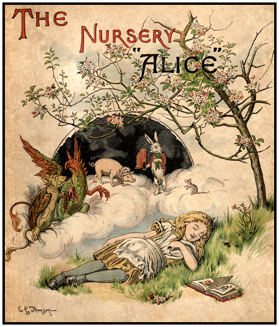 """First edition cover of The Nursery """"Alice"""" by E. Gertrude Thomson"""
