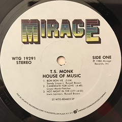 T.S. MONK:HOUSE OF MUSIC(LABEL SIDE-A)