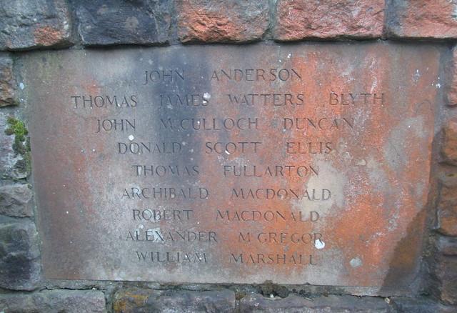 Names on Crook of Devon War Memorial