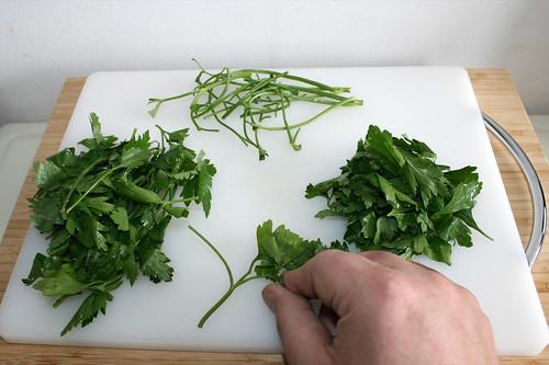 17 - Petersilienblättchen abzupfen / Pick parsley leaflets