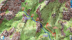 Carte IGN du secteur du Carciara avec le trajet supposé du téléphérique
