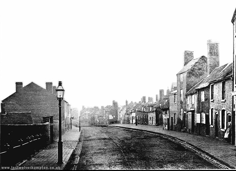 North Street pictured in 1871  - looking north from its junction with Dunstall lane on the left later to become Molineux street