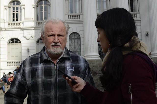 João Pedro Stédile en Curitiba, la ciudad donde está preso Lula y se desarrolla el Campamento Lula Libre - Créditos: Reproducción