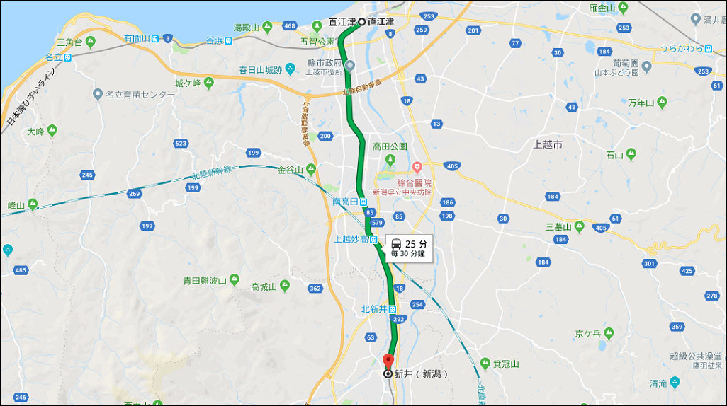 直江津 至 新井(新潟)   Google 地圖
