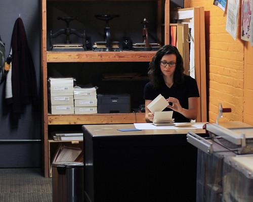 Workin' in the studio. Artist Crystal Shaulis, Lake Michigan Book Press