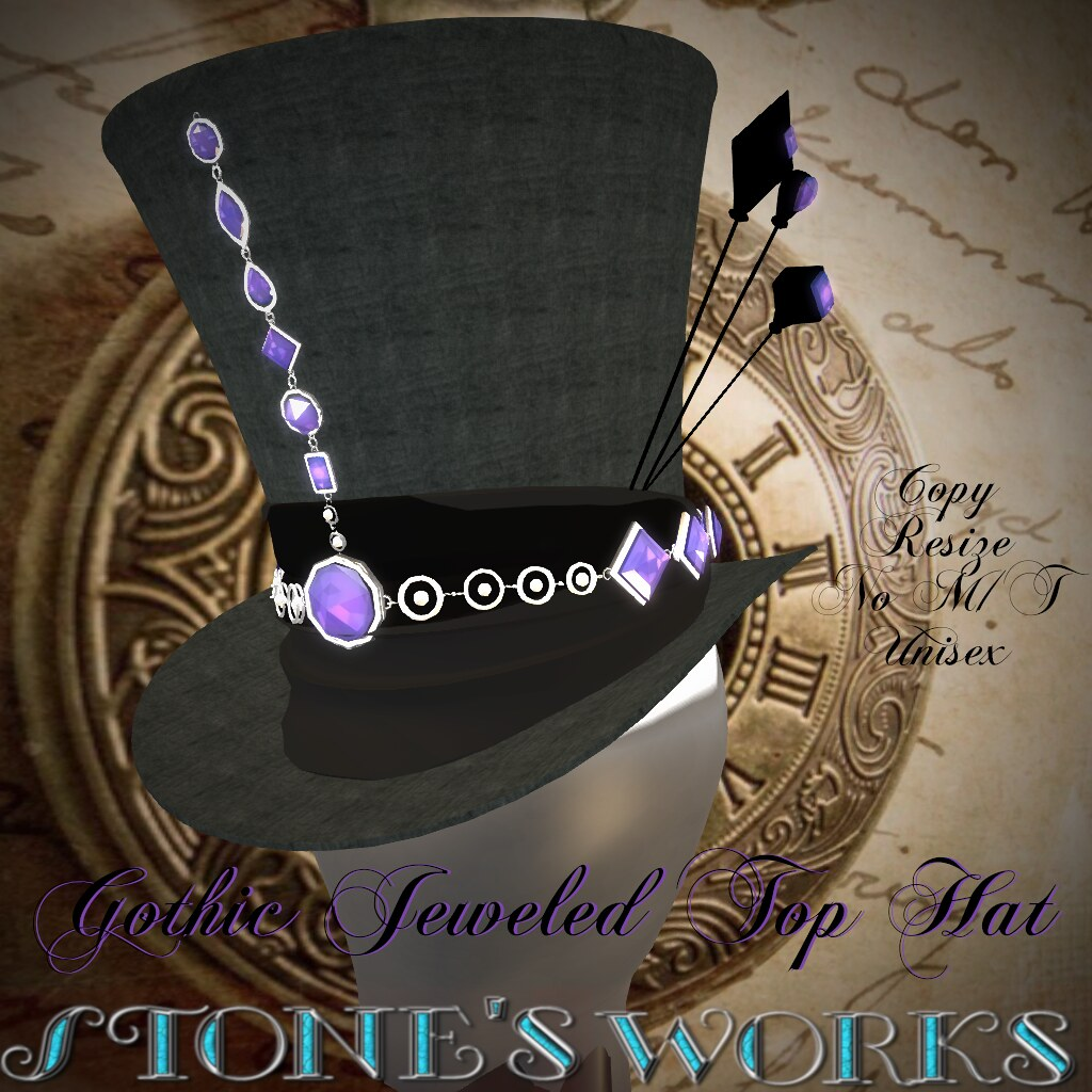 Jeweled Goth Top Hat Amethyst Stone's Works - TeleportHub.com Live!