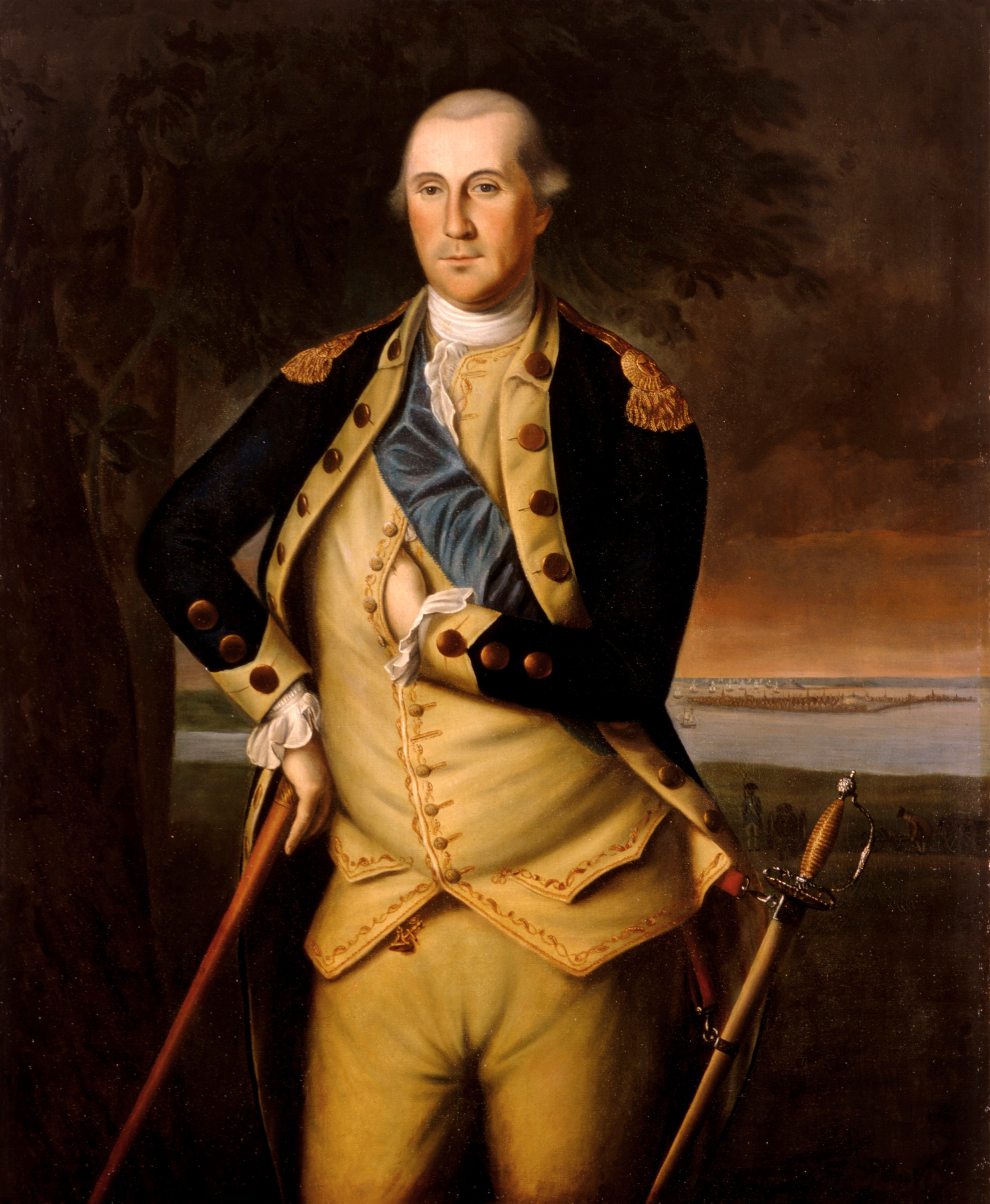 George Washington, by oil on canvas painting by Charles Willson Peale, 1776. White House copy of the original 1776 painting