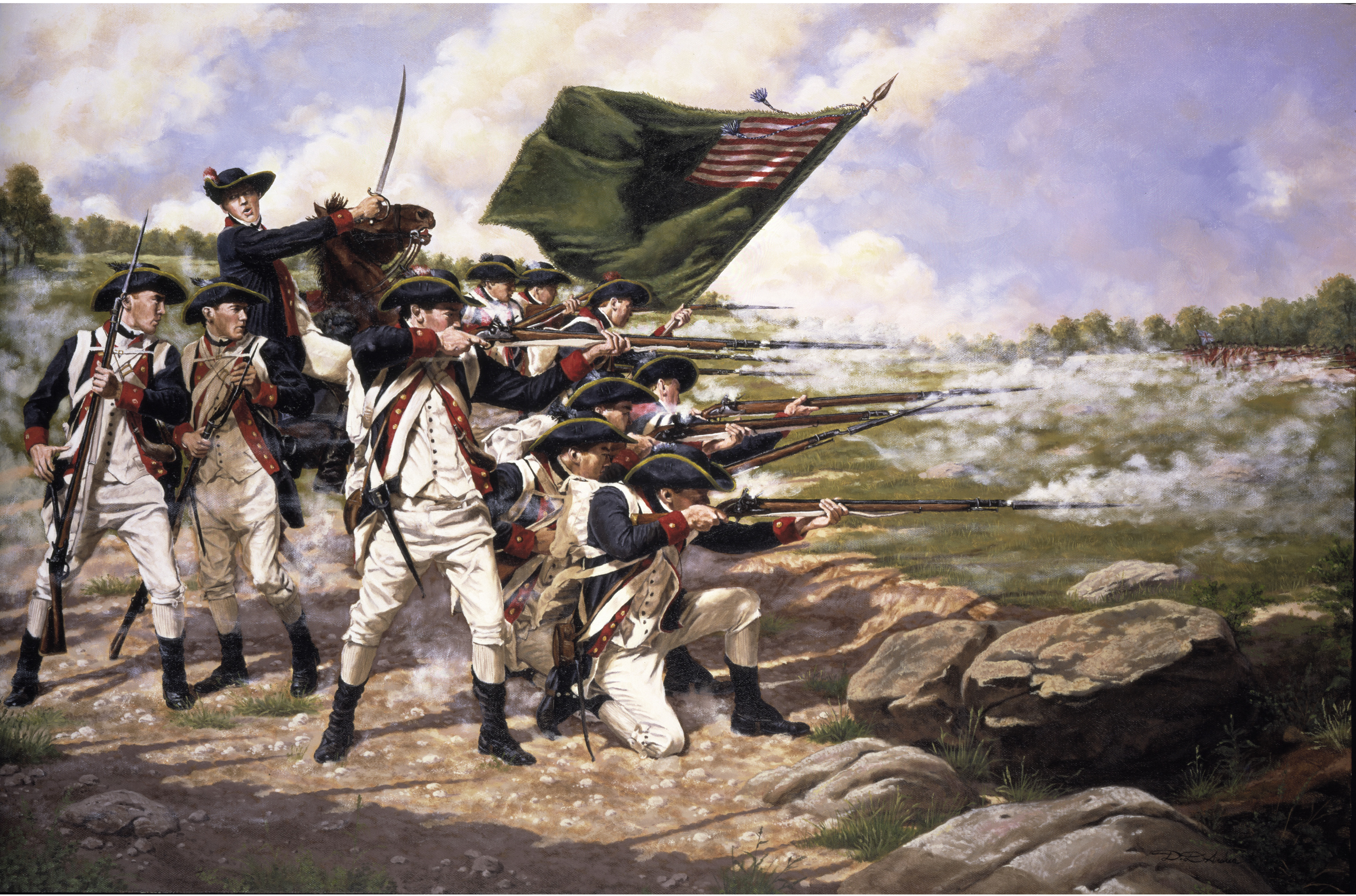 The Delaware Regiment at the Battle of Long Island on August 27, 1776.