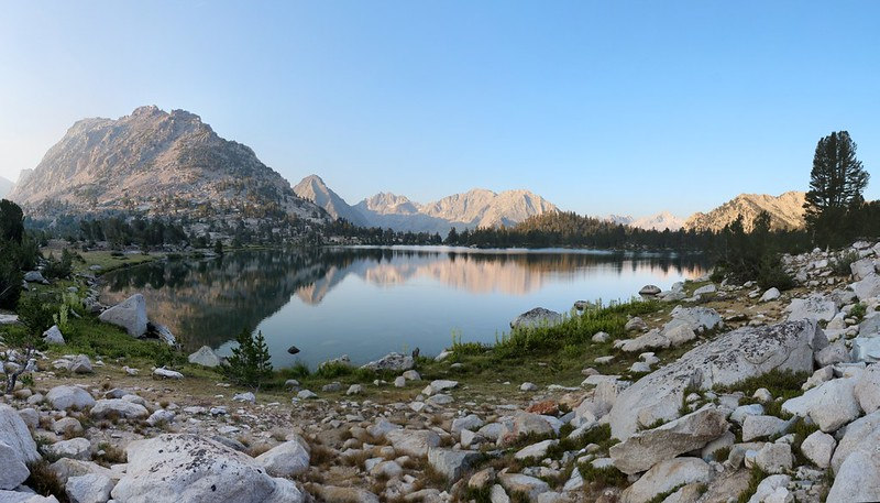 Bullfrog Lake in the morning, with East and West Vidette Peaks in the distance