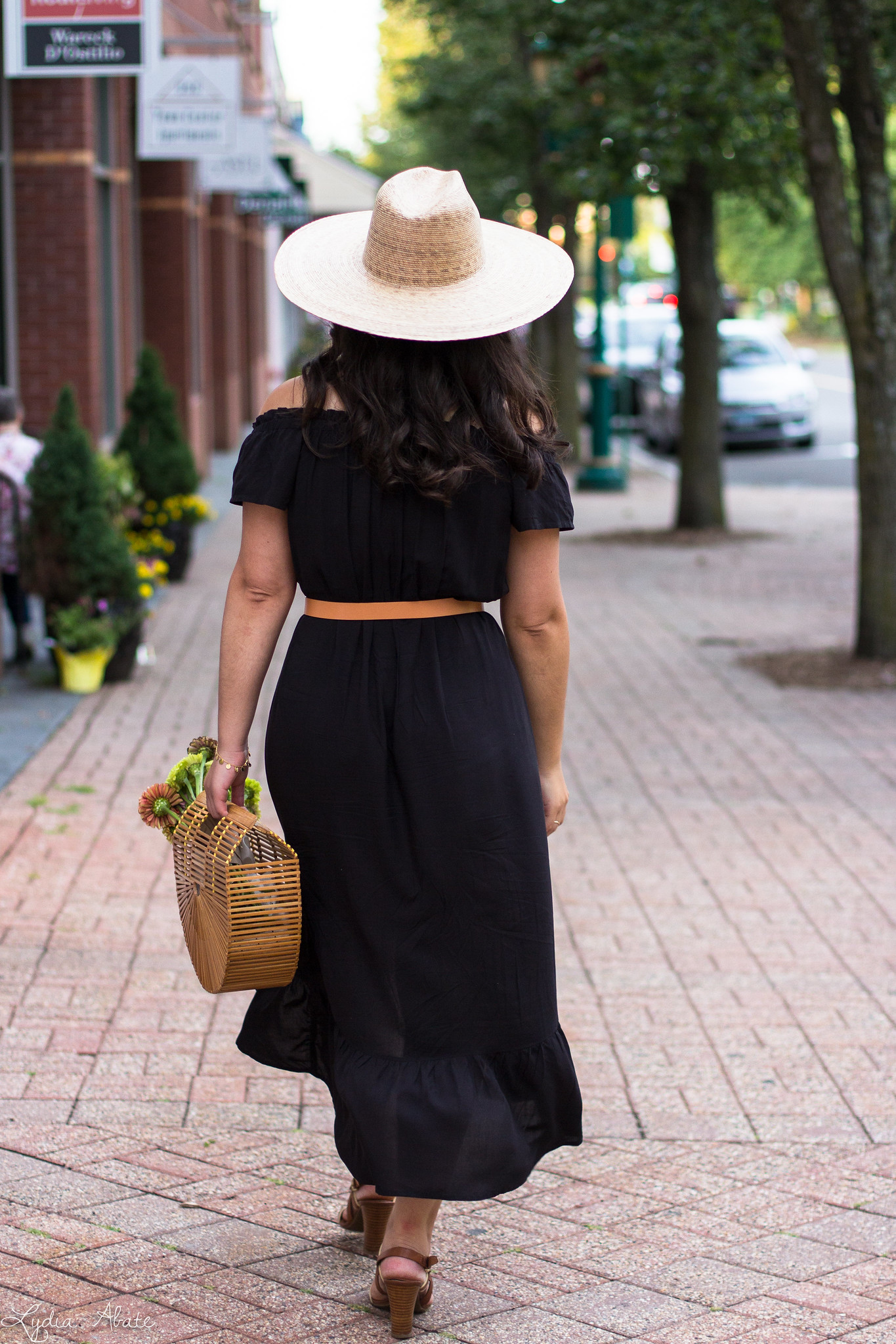 black off the shoulder dress, straw hat, bamboo bag-12.jpg