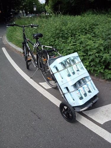 Water Crates on a Bike Trailer