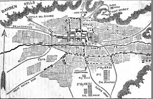 Colonel Alexander William Doniphan's map of Santa Fe, published in Doniphan's Expedition by J.T. Hughes (Cincinnati, OH, 1847), p. 37