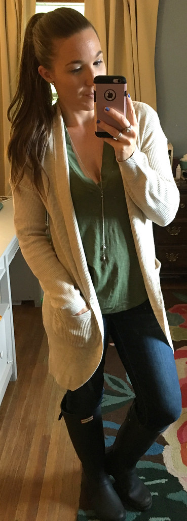 beige curved cardigan