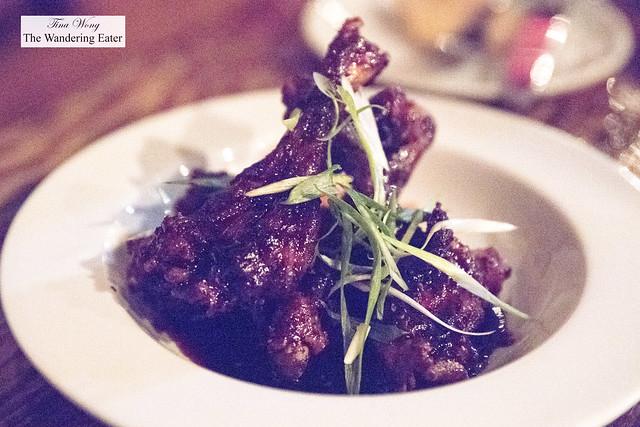 Duck wings - braised duck wings, sweet ginger soy, sesame seeds, pickled celery & carrots